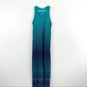 Athleta Blue Striped Sleeveless Maxi Dress Stretch